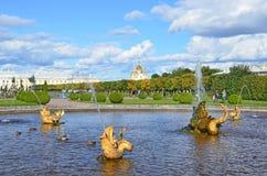 PETERHOF, ROSJA, WRZESIEŃ, 06, 2012 Rosyjska scena: ludzie chodzi blisko fontann w wierzchu parku Peterhof Zdjęcia Royalty Free