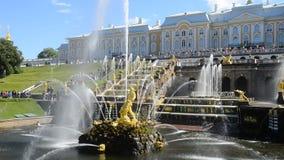 Peterhof, Rusia, el palacio y cascada magnífica de la fuente, alrededores del rey de St Petersburg metrajes