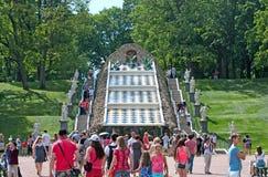 Peterhof Rusia La cascada de la colina del tablero de ajedrez Imagen de archivo