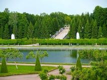 Peterhof, Rusia La vista del parque de la montaña de Marley y del oro conecta en cascada Fotos de archivo