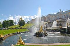 Peterhof, Rusia Opinión Samson Who Is Tearing Apart una fuente de Lion Mouth y una cascada grande Baje el parque foto de archivo