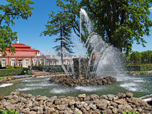 Peterhof, Rusland De Schooffontein in de Monplezirsky-tuin Royalty-vrije Stock Afbeeldingen