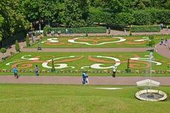 Peterhof, Rusland Een mening van het Grote bloembed in orkestzetels van Nizhny van park Stock Foto