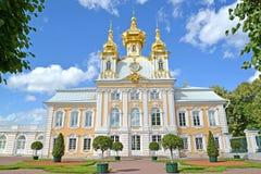 Peterhof, Rusland Kerk van Heiligen Peter en Paul in het Grote Peterhof-Paleis Hoogste tuin Royalty-vrije Stock Foto