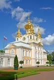 Peterhof, Rusland Kerk van Heiligen Peter en Paul in het Grote Peterhof-Paleis Hoogste tuin Stock Afbeelding