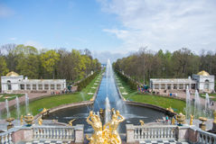 PETERHOF, RUSLAND - MEI 10, 2015: Iconische mening van Peterhof-Paleis aan kanaal en fonteinen Royalty-vrije Stock Afbeeldingen
