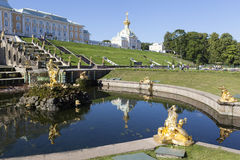 PETERHOF, RUSSIA -  AUGUST 22, 2015: Photo of View of the fountain Samson, Grand Cascade and the Grand Palace. Stock Image