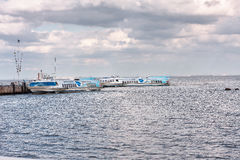 Peterhof, Russia - August 15, 2008: Two ship meteor speedboat awaiting for departure in Harbor. Stock Photos