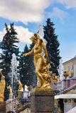 Peterhof, Russia - August 15, 2008: View of the Grand Peterhof Palace, with fountains and golden statues. Stock Image