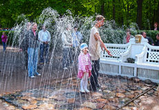 PETERHOF, RUSSIA. The Bench fountain cracker in the Monplezirsky garden Stock Images