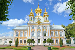 PETERHOF, RUSSIA. Church of Saints Peter and Paul in the Grand Peterhof Palace. Top garden Royalty Free Stock Photo