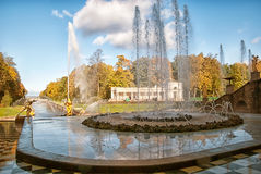 Peterhof. Russia. Fountains of The Grand Cascade Royalty Free Stock Images