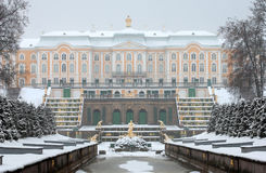 Peterhof. Russia. The Grand Cascade and The Grand Palace Royalty Free Stock Image