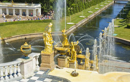Fountains in Peterhof Stock Images