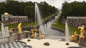 Sea Canal from the Terrace of the Grand Palace in Peterhof. Peterhof, Russia - July 11, 2017: Sea Canal from the Terrace of the Grand Palace in Peterhof stock video footage