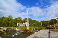 Peterhof, Russia - June 03. 2017. Samsons fountain tearing the jaws of lion Stock Image