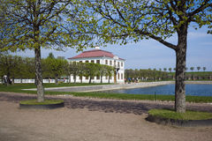 PETERHOF, RUSSIA-MAY 19: View of the Gauze palace in park of Pet. PETERHOF, RUSSIA-MAY 19:View on the Gauze palace in park of Petrodvorets, Russia, Peterhof, MAY Stock Photo