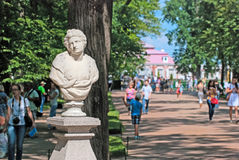 Peterhof. Russia. The Monplaisir Palace Alley Royalty Free Stock Photography