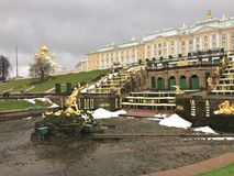 PETERHOF, RUSSIA- NOVEMBER 20-2016: the palace and the park with not working fountains during not tourist season of the beginning. Of winter in Petrodvorets royalty free stock images