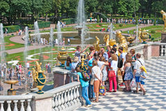 Peterhof. Russia. People near The Grand Cascade Royalty Free Stock Image