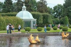 Peterhof. Russia. People in The Upper Garden Stock Photography
