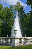 PETERHOF, RUSSIA. The Pyramid fountain in Nizhny park Royalty Free Stock Photos