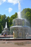 PETERHOF, RUSSIA. The Roman fountains in summer day Royalty Free Stock Photography