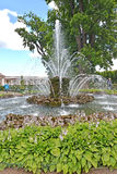 PETERHOF, RUSSIA. The Sheaf fountain in the Monplezirsky garden Stock Photography