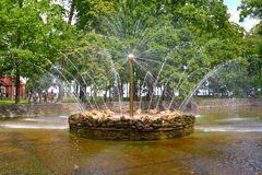 PETERHOF, RUSSIA. The Sun fountain in Nizhny  park Stock Photos