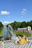 PETERHOF, RUSSIA. View of the Big cascade, Sea channel, Voronikhinsky colonnade Stock Images