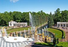PETERHOF, RUSSIA. A view of the Big cascade and the Voronikhinsky colonnade Royalty Free Stock Photo