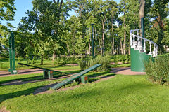 PETERHOF, RUSSIA. View of a children's playgroun complex of gymnastic games Royalty Free Stock Image