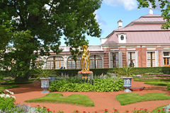 PETERHOF, RUSSIA. View of the Monplezirsky garden and palace Monplezir Royalty Free Stock Image