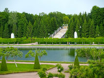 PETERHOF, RUSSIA. View of park of the Marley and  Gold Mountain cascade Stock Photos