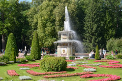 PETERHOF, RUSSIA. A view of the Roman fountains and a flower bed in a summer sunny day. PETERHOF, RUSSIA - JULY 24, 2015: A view of the Roman fountains and a Royalty Free Stock Photo