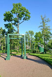 PETERHOF, RUSSIA. View of a sports ground for children (complex of gymnastic games) Stock Photo