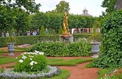 Peterhof, Russland Der Bell-Brunnen im Monplezirsky-Garten Stockfotografie