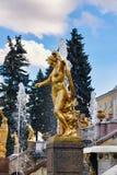 Peterhof Ryssland - Augusti 15, 2008: Sikt av den storslagna Peterhof slotten, med springbrunnar och guld- statyer fotografering för bildbyråer