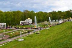 Peterhof Ryssland - Juni 03 2017 Sikt av stora stalls med springbrunnar Royaltyfri Foto