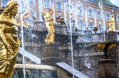 Peterhof`s cascade fountains close up view royalty free stock images