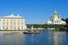 Peterhof, a Square pond and fountain Royalty Free Stock Photography
