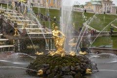 Peterhof, St Petersburg, Russie - VERS en juin 2017 : Cascade grande dans le palais de Peterhof ou de Petergof Images stock