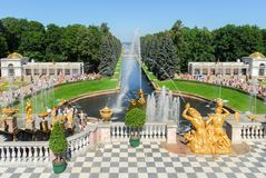 Peterhoff Palace Fountain. Peterhof, the Summer Palace. Looking down upon the channel and the powerful fountains with Samson Stock Image