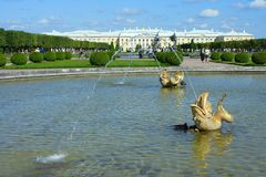 Peterhof, views of the Grand Palace Stock Images