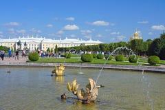 Peterhof, viste di grande palazzo Fotografia Stock