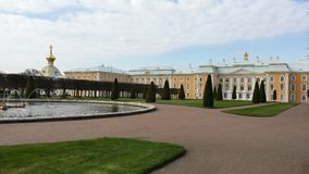 Peterhof, The western and central part of Grand Palace. View from Upper Gardens. Royalty Free Stock Photos