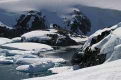 Petermann Island - Antarctica. Icebergs close to shore on Petermann Island, Antarctica stock photography