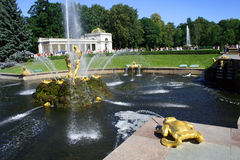 Peters Palast bei Peterhof, St Petersburg, Russland Lizenzfreie Stockbilder
