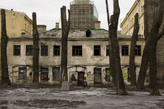 Petersburg abandoned courtyard with truncated trees Royalty Free Stock Photography