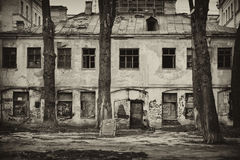 Petersburg abandoned courtyard with truncated trees Royalty Free Stock Photo